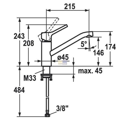 hochdruck k chenarmatur luna s hebelmischer armatur f r. Black Bedroom Furniture Sets. Home Design Ideas