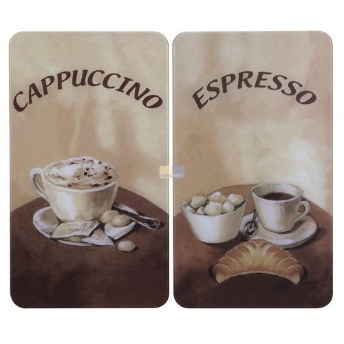 Klick zeigt Details von Glasabdeckplatten für Kochfeld, 2 Stück, Motiv Kaffee