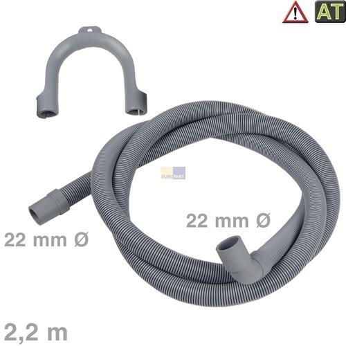 Klick zeigt Details von Ablaufschlauch Winkel/gerade 22/22mmØ 2,2m , AT!