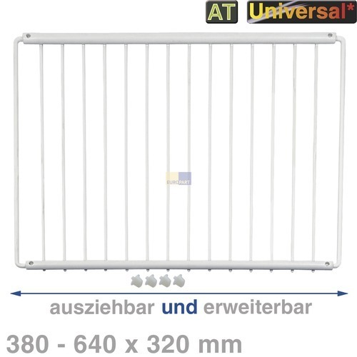 Klick zeigt Details von Abstellboden, Ablagerost ausziehbar UND erweiterbar, Universal!