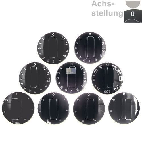 Klick zeigt Details von Knebelset 9-teilig schwarz  0-Stellung bei abgeflachter Achse oben