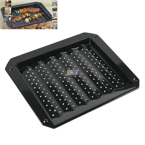 Klick zeigt Details von Grillblech Grillschale Ofenblech 380x330mm 30mm hoch emailliert mit Lochung