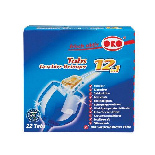 Klick zeigt Details von Spülmaschinen-Reiniger Tabs ORO-frisch-aktiv 05028 12in1 22Tabs 440g