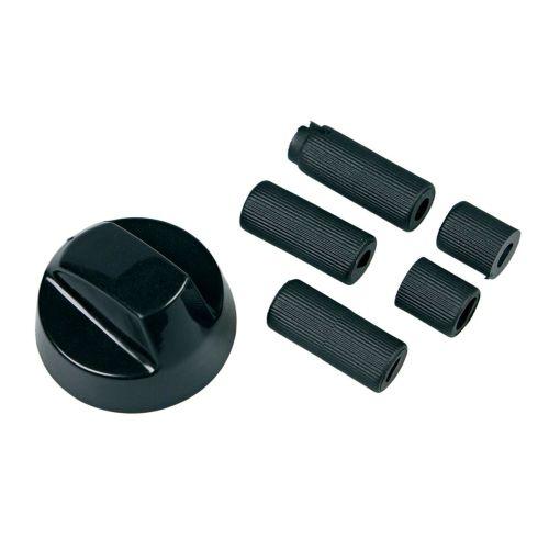 Klick zeigt Details von Knebel 43mmØ schwarz mit Adaptern Universal! für alle Marken