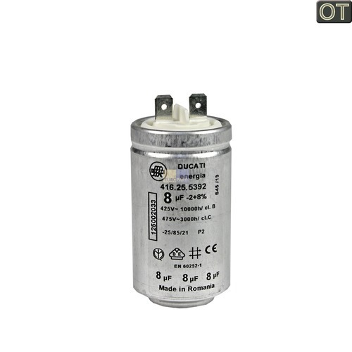 Klick zeigt Details von Anlaufkondensator 8MF AEG 125002033 Kondensator für Wäschetrockner Trockner