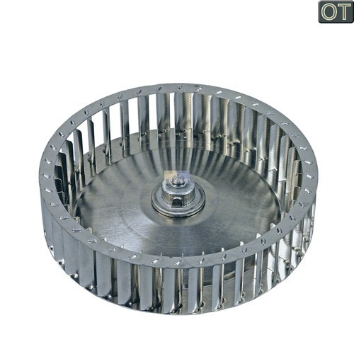 Klick zeigt Details von Lüfterrad Metall hinten AEG 136407410 Warmluftgebläse Lüfter Rad für Trockner
