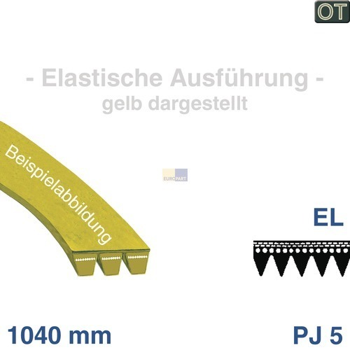 Klick zeigt Details von Keilrippenriemen 1040 PJ 5 EL Electrolux 150855001/7 Original