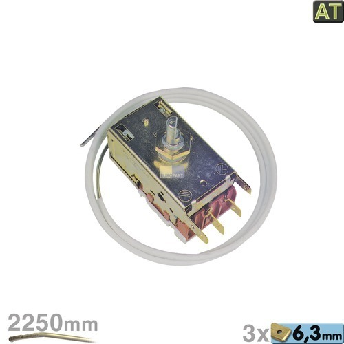 Klick zeigt Details von Thermostat K59-L1119 Ranco 2250mm Kapillarrohr 3x6,3mm AMP