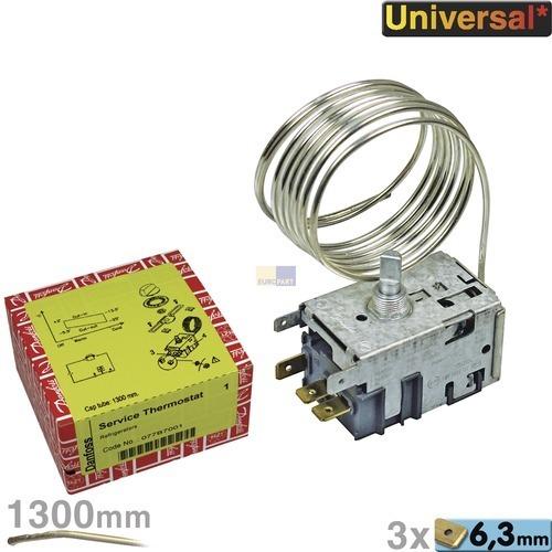 Klick zeigt Details von Thermostat 077B7001 Danfoss Nr.1 1300mm Kapillarrohr 3x6,3mm AMP