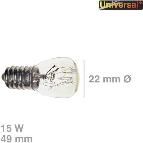 Klick zeigt Details von Lampe E14 15W 22mmØ 49mm 230V, Universal!