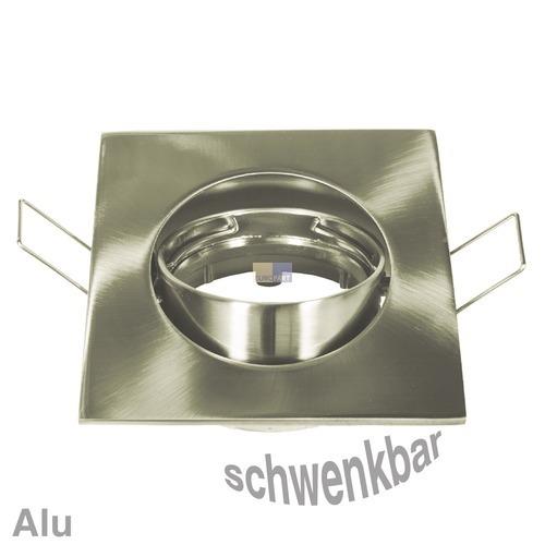 Klick zeigt Details von Lampenhalter 4-eckig Eisen gebürstet, Alu