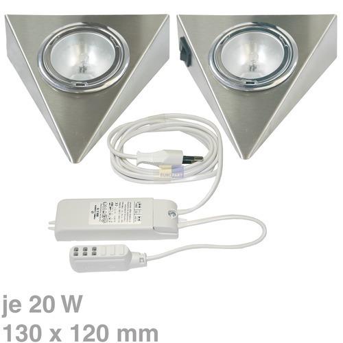 Klick zeigt Details von Lampenhalter 3-eckig Edelstahl gebürstet 2 Stück
