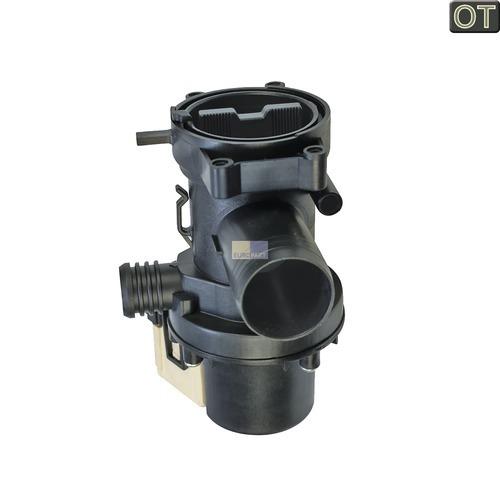 Klick zeigt Details von Ablaufpumpe mit Pumpenstutzen und Flusensiebeinsatz, OT!