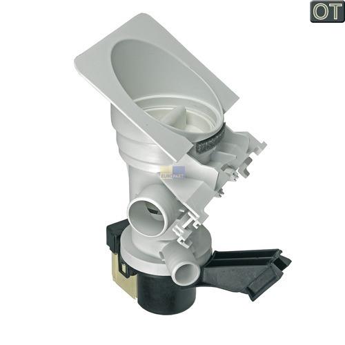 Klick zeigt Details von Ablaufpumpe mit Pumpenstutzen und Flusensiebeinsatz Whirlpool 481236018578