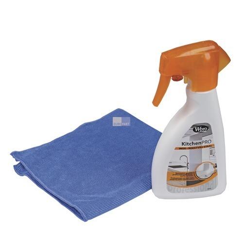 Klick zeigt Details von Küchen-Reinigungsset für Edelstahlflächen Wpro KIN251 Reiniger für Edelstahl
