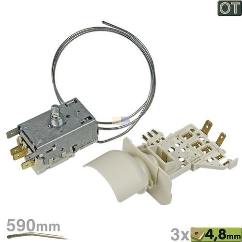 Klick zeigt Details von Thermostat K59-S1892 Ranco 590mm Kapillarrohr 3x4,8mm AMP + Lampenfassung