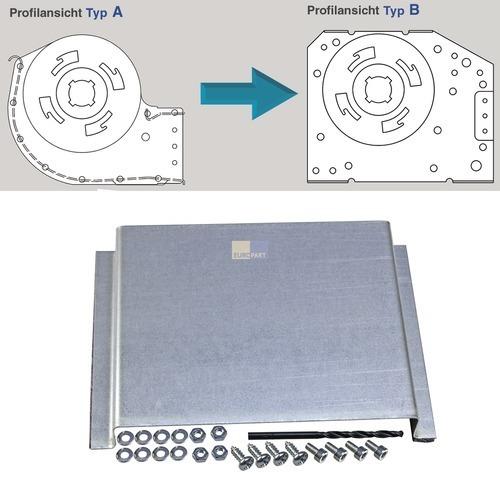 Klick zeigt Details von Querstromlüfter-Umbaublech 120mm TypA auf TypB
