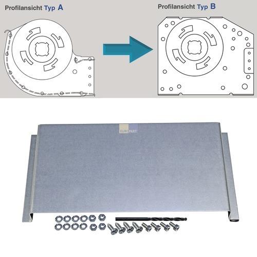 Klick zeigt Details von Querstromlüfter-Umbaublech TypA auf TypB