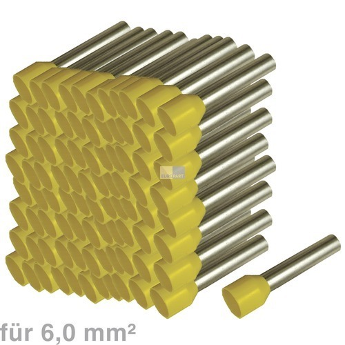 Klick zeigt Details von Ader Endhülsen 6mm² gelb DIN 46228 100Stück