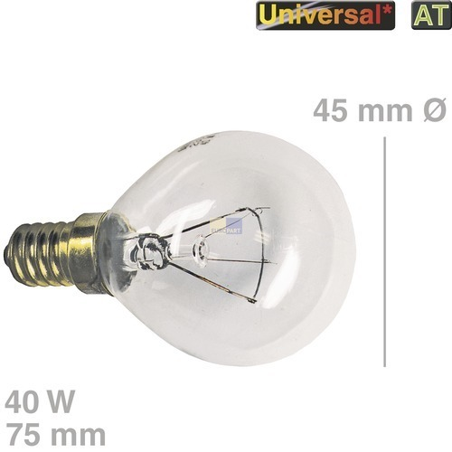 Klick zeigt Details von Lampe Backofen Kühlschrank 5027989000 057874 503768 1929380 06108302 Bosch Küppersbusch Miele Quelle E14 40 Watt Kugelform