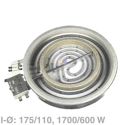Klick zeigt Details von 2 Kreis-Strahlheizkörper 175/110mm  1700/600W, EGO 10.78661.004