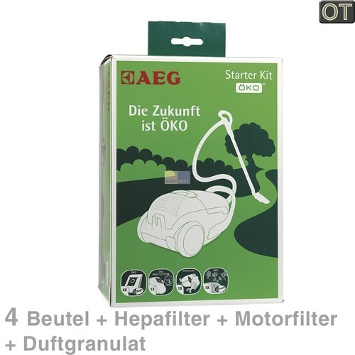 Klick zeigt Details von Filterbeutel + Motorschutzfilter Abluftfilter Duftgranulat, AEG Starter-Kit Öko GSK2, OT!