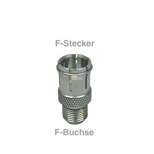 Klick zeigt Details von F-Schnelladapter Stecker/Buchse für Audio Video TV Antennensteckdosen