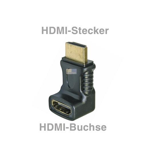Klick zeigt Details von HDMI-Winkeladapter 90° Stecker/Buchse HDMI-Stecker für TV Lautsprecher PC