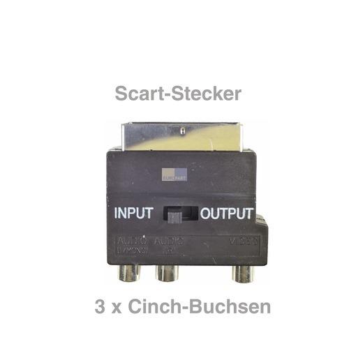 Klick zeigt Details von Adapter Scart-Stecker 3xCinch-Buchse Scart-Adapter Input Output für Fernseher TV