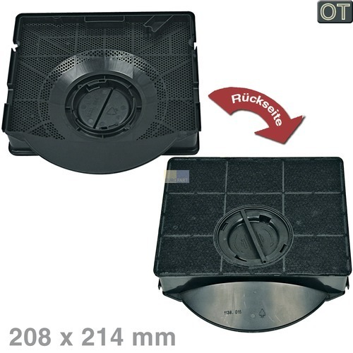 Kohlefilter Electrolux 902979360/2 E3CFE303 Original 208x214mm für Dunsthaube