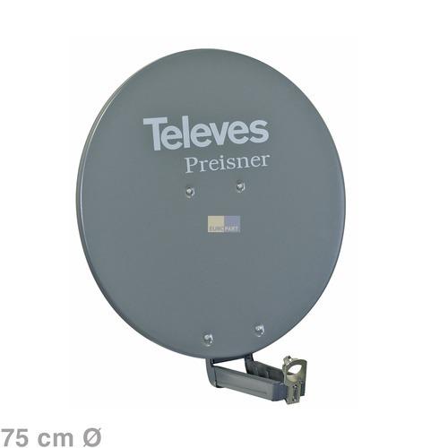 Klick zeigt Details von SAT-Antenne 75cm grau S75QSD-G,