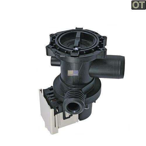 Klick zeigt Details von Ablaufpumpe m. Pumpenstutzen u. Flusensieb Indesit C00119307 für Waschmaschine