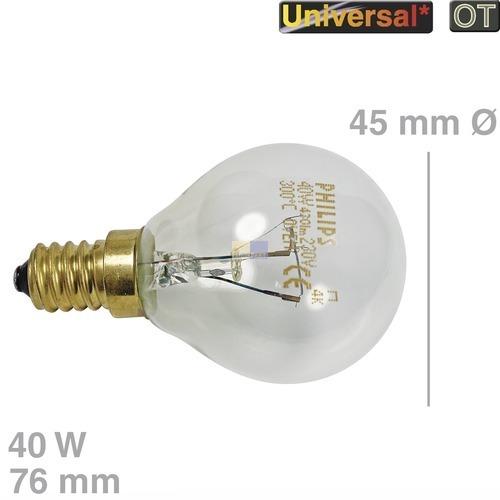 Klick zeigt Details von Lampe E14 40W 45mmØ 76mm 220/230V Kugelform, Universal! OT!