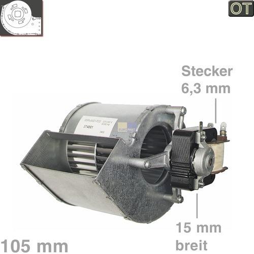 Klick zeigt Details von Querstromlüfter 105mm TypA Motor rechts Siemens 00140382 Nachtspeicher Solarien