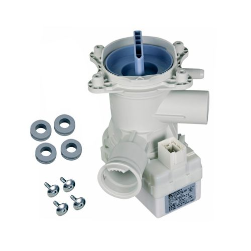 Klick zeigt Details von Ablaufpumpe mit Pumpenstutzen und Flusensiebeinsatz