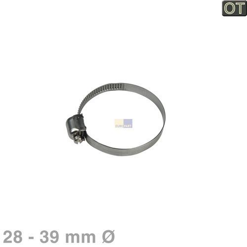 Klick zeigt Details von Schlauchschelle 28-39mmØ für Auslaufstutzen Heizpumpe