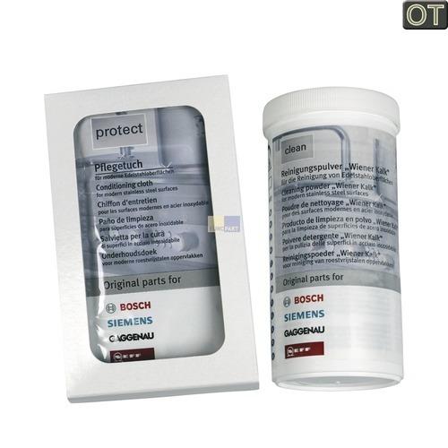 Klick zeigt Details von Edelstahlpflege Set BSH clean+protect, BSH-Gruppe/Bosch/Siemens.. 00311140.