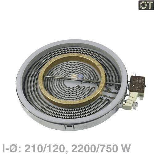 Klick zeigt Details von HiLight-Strahlheizkörper 210/120mmØ  2200/750W 230V, BSH 00436657