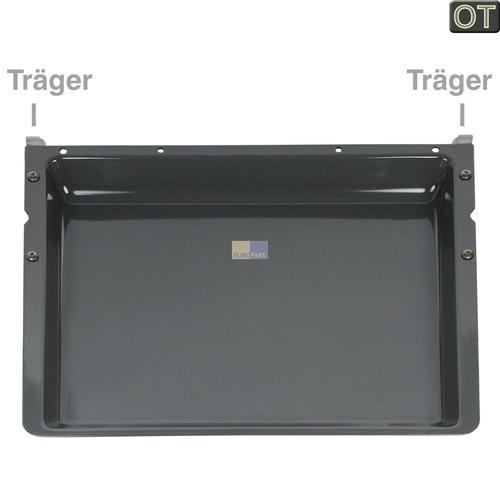 Klick zeigt Details von Backblech 428x375mm 40mm hoch emailliert, mit Träger, OT!