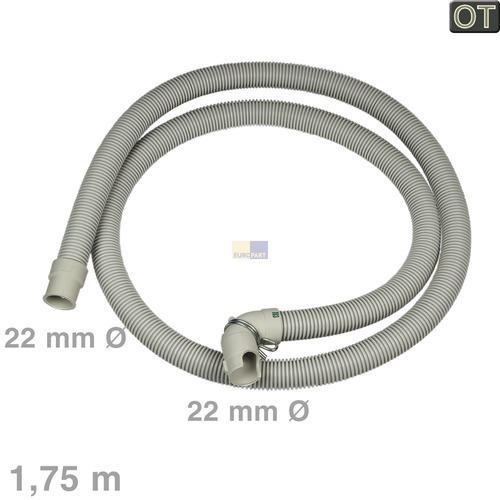 Klick zeigt Details von Ablaufschlauch Miele 10542280 Original Winkel/gerade 22/22mmØ 1,75m für Geschirrspüler