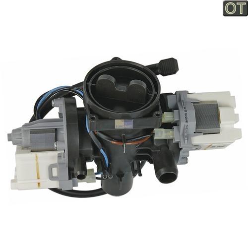 Klick zeigt Details von Ablaufpumpe Doppelpumpe mit Pumpenstutzen und Flusensiebeinsatz
